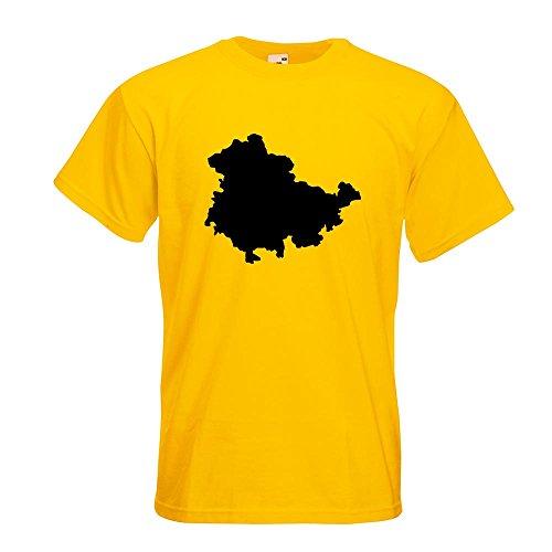 KIWISTAR - Thüringen Deutschland Silhouette T-Shirt in 15 verschiedenen Farben - Herren Funshirt bedruckt Design Sprüche Spruch Motive Oberteil Baumwolle Print Größe S M L XL XXL Gelb