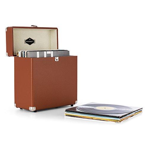 auna TTS6-BR • Schallplattenkoffer • Recordbox • Platten-Case • für 30 LP • Kunstleder • Retro-Design • Innenpolsterung aus Samt • Metallschutzecken • Schloß • stabil • braun