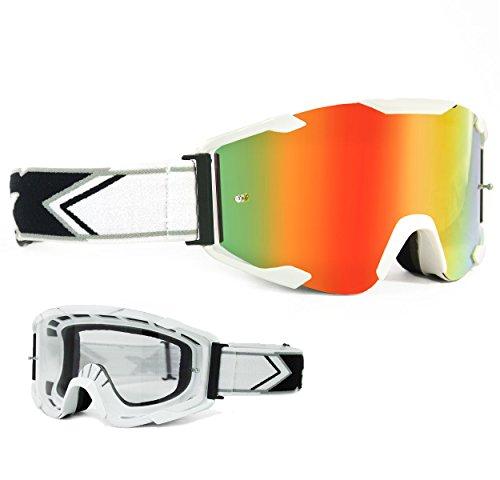 Two-X Bomb Crossbrille Weiss Glas verspiegelt Iridium MX Brille Motocross Enduro Spiegelglas Motorradbrille Anti Scratch MX Schutzbrille