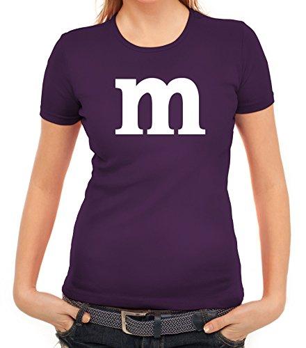 Karneval Fasching Junggesellenabschied Damen T-Shirt Gruppen & Paar Kostüm mit M Aufdruck, Größe: M,lila (Ideen Gruppe Kostüme)