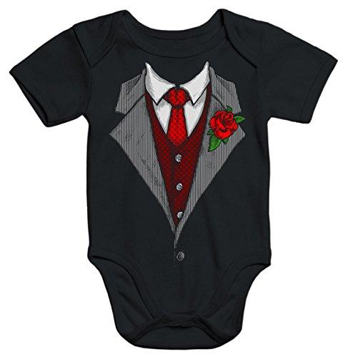 MoonWorks Baby Body Anzug Schlips Krawatte schwarz 3-6 ()