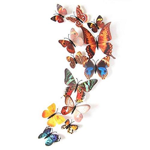 Wandaufkleber 12 stücke Art Design Aufkleber Wandaufkleber Home Dekorationen 3D Schmetterling hausgarten küche zubehör dekorative aufkleber wandbilder