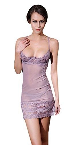 CZIXUN Reizvolle Wäsche Damen Sexy Spitze Nachthemd mit Stahl Pflege (Grau)