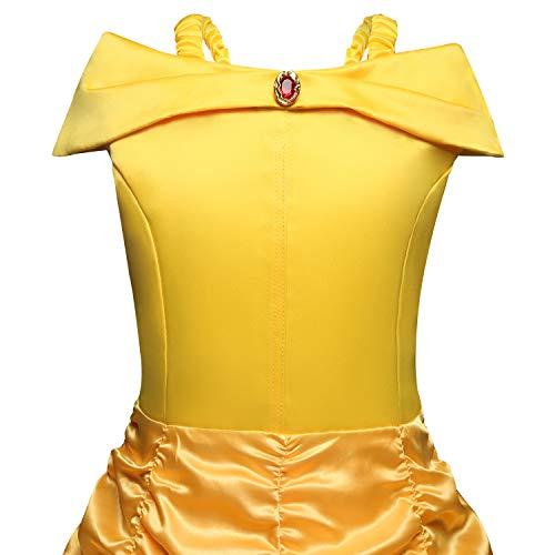 Disfraz de Princesa Belle Vestido para Niña (3-10 Años) (4-5 Años, 110 cm)