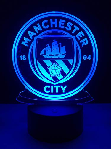 FaceToWind Football Soccer Team Series Night Lights Colorful Color Brightness Adjustable USB and Battery-Powered Acrylic Material Home Decorations for Kids, Manchester City (Show-produkte Light Halloween)