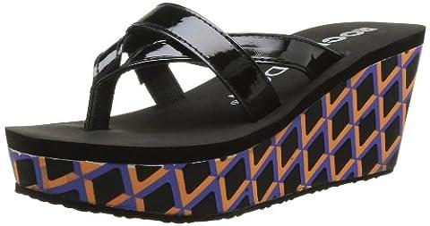 Rocket Dog Women's Delfina Thong Sandals Black Noir (Summer Patent Black/Orange) 4
