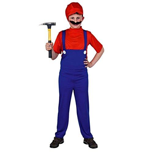 NET TOYS Kinderkostüm Super Mario Kostüm Klempner rot-blau Mariokostüm Fasnachtkostüm Superhelden Kinder ()