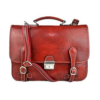 Leder herren damen aktentasche messenger ledertasche umhangetasche schultertasche tragetasche made in Italy rot