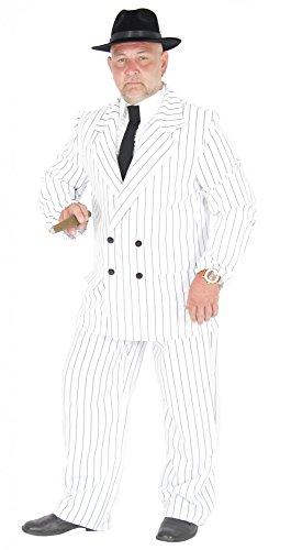 Foxxeo 40181 | weißer 20er Jahre Gangster Anzug Kostüm Herren Karneval Fasching Party Gr. S-XL, Größe:L
