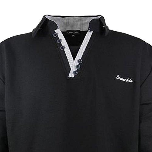 Lavecchia Herren Sweatshirt mit Bruststickerei und Polo Kragen in Übergröße Schwarz