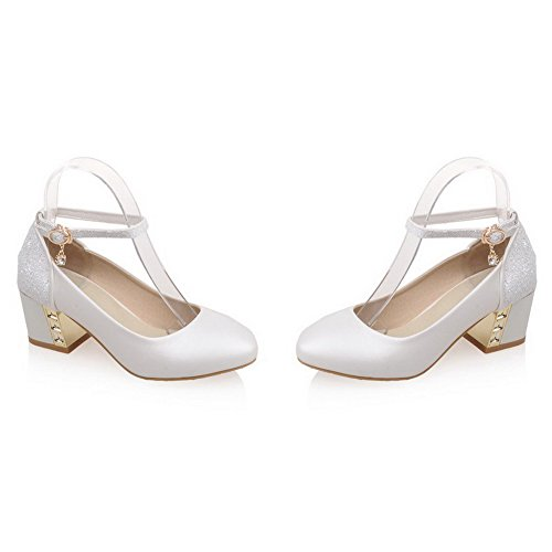 VogueZone009 Femme Matière Souple Boucle Rond à Talon Correct Couleur Unie Chaussures Légeres Blanc