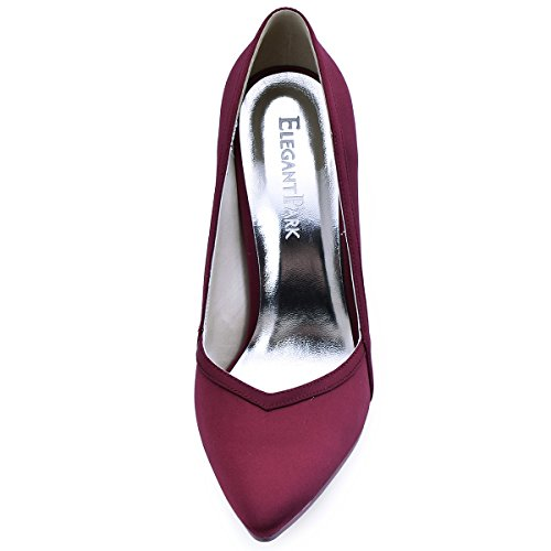 ElegantPark HC1603 Donna Satin Scarpe A Punta Tacco A Spillo Pompe Partito Scarpe Da Sposa Borgogna