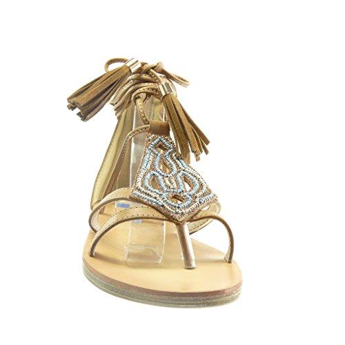 Angkorly Scarpe Moda sandali aperto donna frange pon pon perla Tacco tacco piatto 1.5 CM Cammello