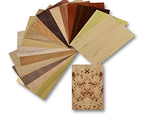 Holz Furnier Set, 17 Varianten, Echtholz, Nussbaum, Eiche, Teak. uvm. Bastelset, Modellbau, Intarsien (Set I)
