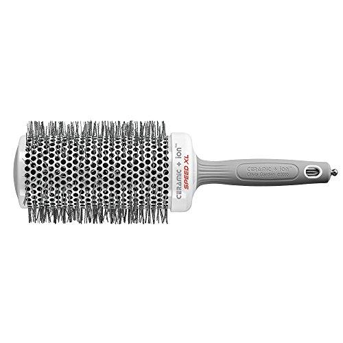 Olivia Garden Rund-Haar-Bürste Ceramic + Ion Speed XL 65/85 mm, langer Bürstenkörper für kürzere Föhnzeiten, antistatische Rundbürste (Ionen Haarbürste) zum Föhnen und Glätten langer Haare