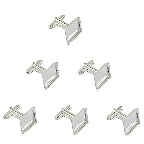 6pcs Platz Manschettenknöpfe Rohlinge Fassungen Schmuck für Cabochons Silber