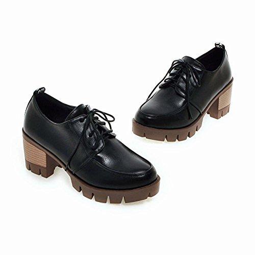 Mee Shoes Damen bequem chunky heel mit Schnürsenkel Pumps Freizeitschuhe Schwarz