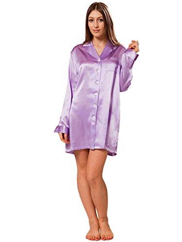 ElleSilk Inspired à manches longues chemise de soie des femmes Violet