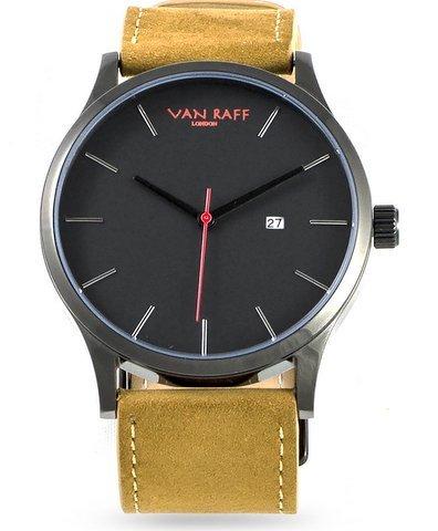 Van Raff London Tan Brown Leather Black Dial Men's Watch.