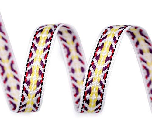 5m Weiß Indianer Webband/Gurtband Breite 10mm, Webbänder Indianisch, Besatzbänder, Trachtbänder Und Paspelbänder, Kurzwaren -