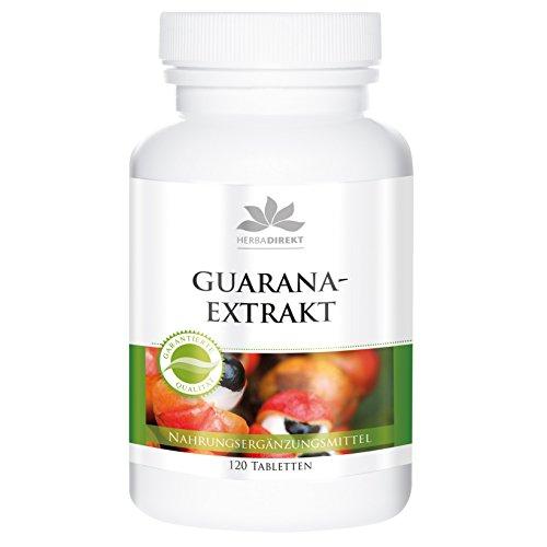 Herbadirekt - GUARANA- EXTRAKT - aus 1200mg Guarana - Reinsubstanz - 120 Tabletten