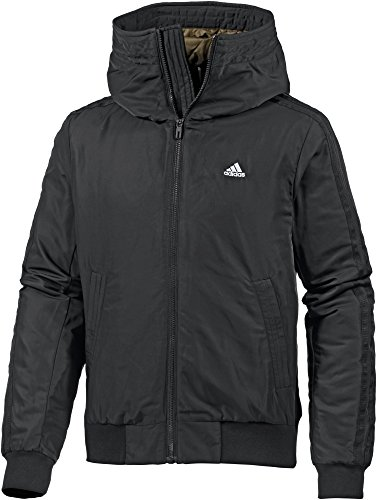 adidas Herren Hooded 3-Streifen Bomberjacke Jacke, Black/White, XL
