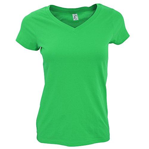 SOLS Moon - T-shirt à manches courtes et col en V - Femme Bleu atoll