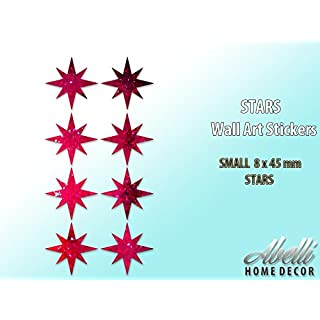 STAR Wall Art Stickers GLITTER RED (Small 8 x 45 mm), Abelli Home Decor