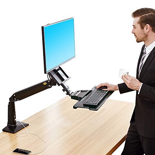 """NB North Bayou FC35 22""""-35"""" Monitor Tischhalterung mit Justierbare Gasfeder Ergonomische Gesund Arbeite Monitor Halterung Sitzen Stehen 3-9kg Monitor und Tastatur (22"""" - 35"""" Schwarz) ..."""