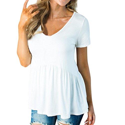 Petite V-ausschnitt Strickjacke (Moonuy Frauen Bluse,Sommer-Bluse für Damen, Frauen Kurzarm-Top, Grundlegende Solide Reihe Falten Geraffte O-Neck Lose Elegante T-Shirt (Weiß, EU 34/Asien S))