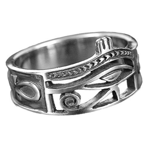 Ring Horus Horusauge mit Ankh 925er Sterling Silber