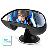 UEOTO Baby Car Mirror, Rear View Mirror for Baby Interior Child Car Mirror with Non-Slip Suction Cup, 360 Degree Rotatable Rear Facing Car Back Seat Baby View Mirror for Rearview Child Safety - Black
