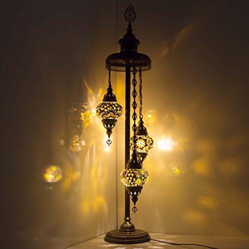 Mosaic Lamp - Handmade Turkish Mosaic Floor Lamp with Moroccan 3 Medium Mosaic Lantern, Bronze Base, Unique Floor Lamp for Your Room Decoration by TK Bazaar (Azurite)