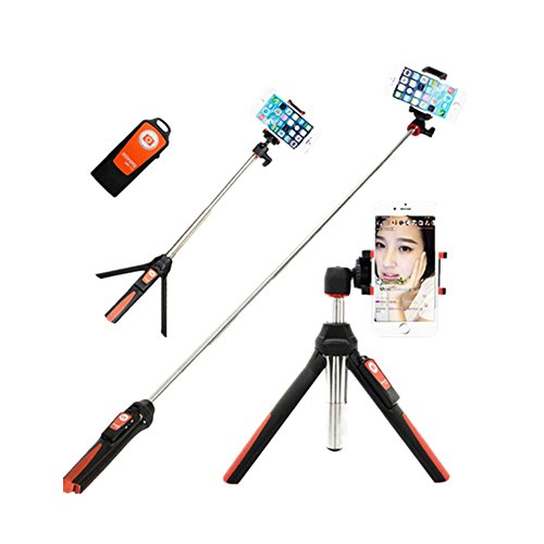 Portrait-kit Self (BENRO Handheld Tripod 3 in 1 Self-portrait Monopod Phone Selfie Stick Bluetooth Remote Shutter for Gopro iPhone Sumsang (Red))