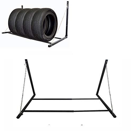 Bastidor de neumáticos de montaje en pared, almacenamiento de ruedas ajustable plegable,...