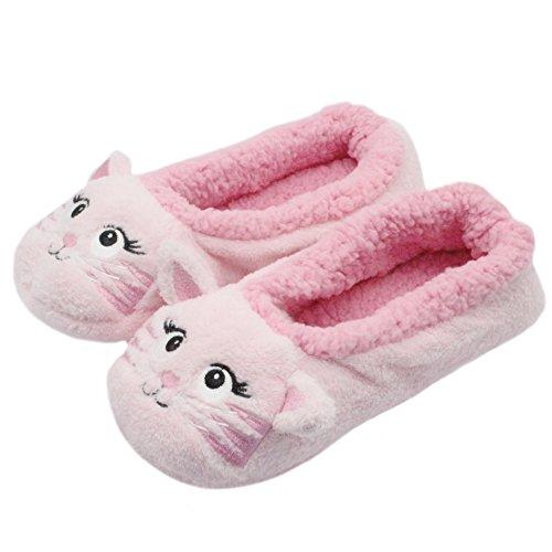 FRALOSHA Frauen gemütliche warme Fuzzy Cat Slipper Socken Indoor Booties mit rutschfesten Griffen (27cm, Rosa) (Warm, Fuzzy Socken)