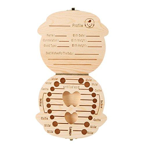 Patgoal Baby Geburtsurkunde Souvenir Box für Zähne Personalisierbarem Die milchzähne Keepsake Box (Jungen)