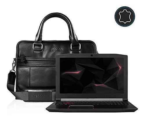 Leder Laptoptasche für Damen/Herren passend für Acer Predator Helios 300 15 | Schwarz