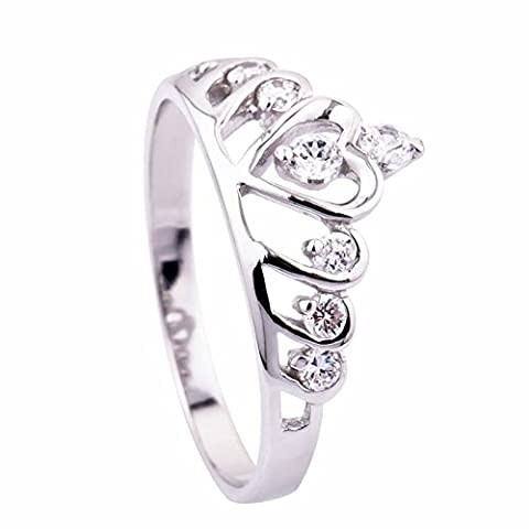 Ecloud Shop® Wedding Rings Sterling Silver Heart Princess Crown