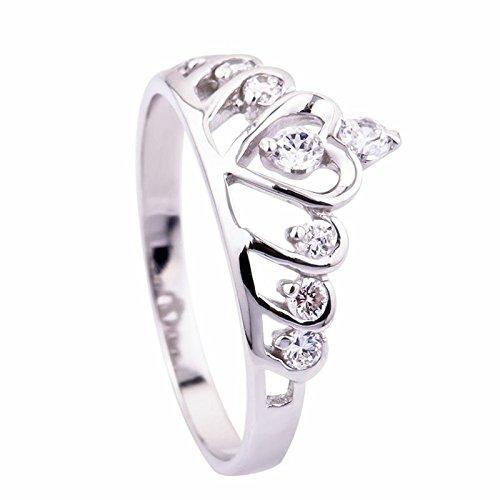 Ecloud Shop® Anillos de boda de plata esterlina Corazón Princesa Crown