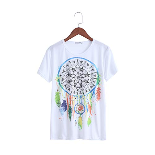 ruiruiNIE Vogue Casual Summer Women Dreamcatcher Camiseta de Manga Corta Estampada - XL