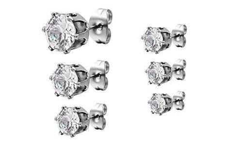 6 Paare Ohrringe in einem Set | Silber Edelstahl Kristall Ohrstecker | Elegant Gestüt Stecker | Ohrschmuck Zirkon Zirkonia