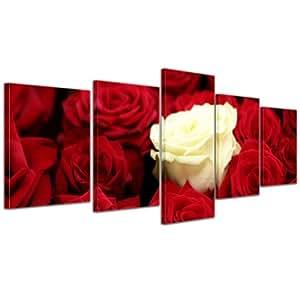 """Bilderdepot24 Immagine su tela """"bianco rosa"""" - 200x80 cm 5 pezzi - incorniciato direttamente dal produttore, intelaiata e pronta da appendere"""
