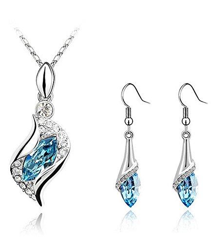 Celebrity Jewellery Weißen Vergoldet Engel Eye Österreichischen Kristall Kette Ohrringe für Damen Geschenk