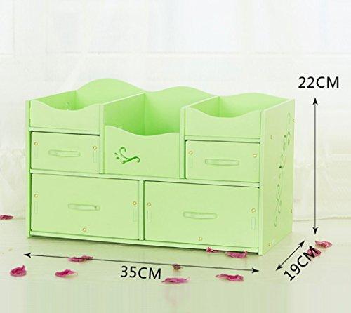 MMM Cosmetic rangement de bureau Box tiroir multi-couches Etagères Sorting Box Dresser Skincare ( Couleur : Vert )