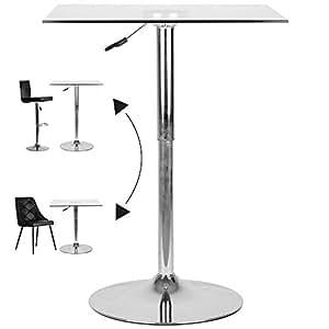 Table de bar carrée ajustable en verre (L.70 x P. 70 x H. de 70 à 90 cm)