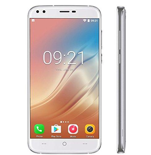 DOOGEE X30 - schermo da 5,5 '' HD Smartphone Android 7.0 3G, fotocamere doppie posteriori + doppie telecamere anteriori (5MP + 5MP + 8MP + 8MP), CPU quad core da 1,3GHz con 2GB RAM 16GB ROM, 3360mAh Argento