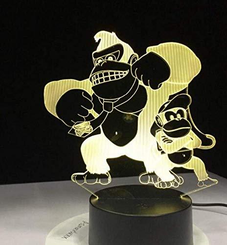 Nachtlicht Wandleuchte Led Lampe 3D Led Affe Schreibtischlampe 7 Farben Ändern Home Atmosphäre Dekor Tier Beleuchtung Befestigung Kinder Geburtstag Geschenk Nachtlicht für Küche Schlafzimmer Wohnzimm (Home-beleuchtung-befestigungen)