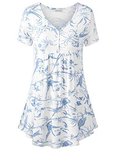 BAISHENGGT Damen Henleyshirt Longtee V-Ausschinitt Tunika Vintage Basic Weiß Blumen XL - Frauen Für Tie-dye-sweatshirt