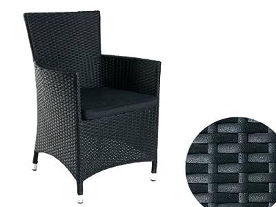 Polyrattan Sessel Armlehnenstuhl Gartenstuhl Stuhl Rattan schwarz mit Kissen *NEU